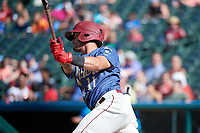 Frisco RoughRiders Christian Lopes (11) bats during a Texas League game against the Amarillo Sod Poodles on May 19, 2019 at Dr Pepper Ballpark in Frisco, Texas.  (Mike Augustin/Four Seam Images)