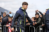 Manchester City's John Stones greets the waiting fans as he arrives at Turf Moor ahead of kick-off at Turf Moor<br /> <br /> Photographer Rich Linley/CameraSport<br /> <br /> The Premier League - Burnley v Manchester City - Sunday 28th April 2019 - Turf Moor - Burnley<br /> <br /> World Copyright © 2019 CameraSport. All rights reserved. 43 Linden Ave. Countesthorpe. Leicester. England. LE8 5PG - Tel: +44 (0) 116 277 4147 - admin@camerasport.com - www.camerasport.com