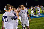 GREENSBORO, NC - DECEMBER 02: David Figueroa #22 of Messiah College is introduced prior to the Division III Men's Soccer Championship held at UNC Greensboro Soccer Stadium on December 2, 2017 in Greensboro, North Carolina. Messiah College defeated North Park University 2-1 to win the national title. (Photo by Grant Halverson/NCAA Photos via Getty Images)