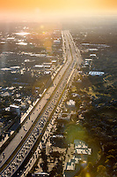 helicopter view of Highway 183 & Anderson Mill Rd. during 7:15 am morning rush-hour traffic in Austin, Texas.
