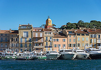 Saint-Tropez waterfront architecture and yachts, Provence, France