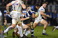 Taulupe Faletau of Bath Rugby takes on the Exeter Chiefs defence. Aviva Premiership match, between Bath Rugby and Exeter Chiefs on March 23, 2018 at the Recreation Ground in Bath, England. Photo by: Patrick Khachfe / Onside Images