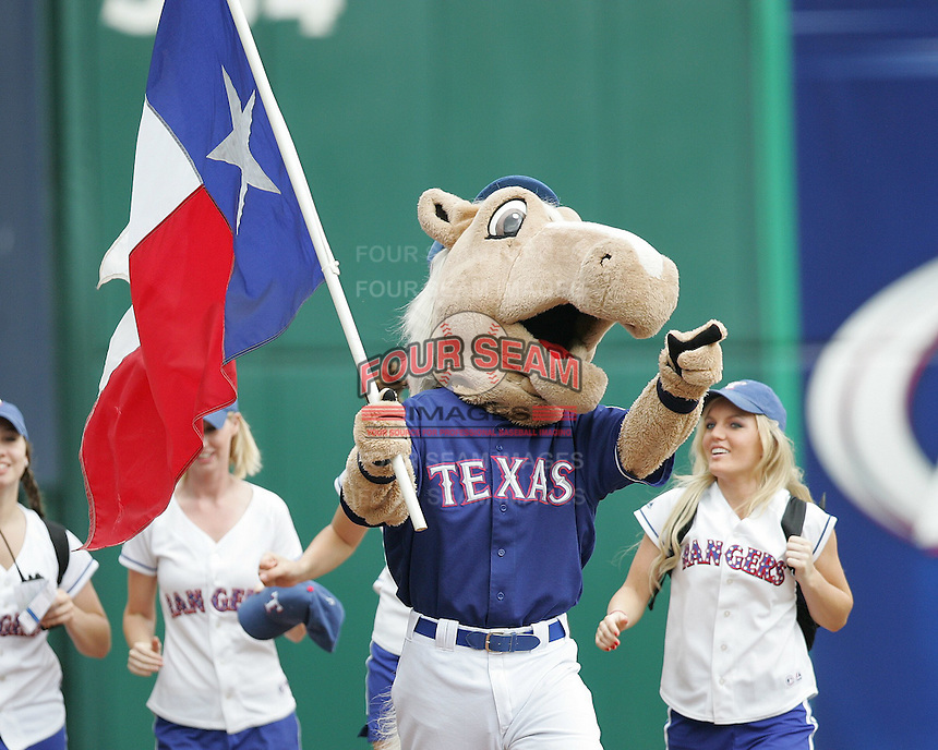 Texas Rangers Mascot on May 14th, 2008 at Texas Rangers Ball Park in Arlington, Texas. Photo by Andrew Woolley .