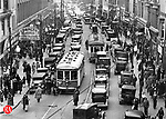 A view of Bank Street, looking north, in Waterbury circa 1935.