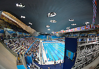 July 29, 2012..A view of the Aquatics Center from concourse level before day two semifinal and final events during 2012 Olympic Games in London, United Kingdom.