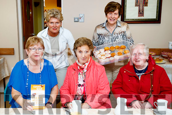 Margaret Crean, Pauline Burke Crean, Nuala Lawlor, Bridie O'Connor and Mary Creagh, having a cuppa at the Kerry Hospice Coffee Morning, held at St. John's Pastoral Centre, Tralee, on Friday morning last.