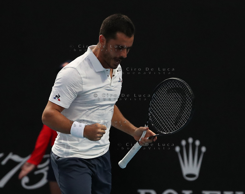 16th January 2019, Melbourne Park, Melbourne, Australia; Australian Open Tennis, day 3; Thomas Fabbiano  of Italy celebrates after win against Reylli Opelka of USA