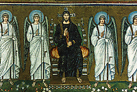 Ravenna: Mosaic--The Redeemer on the Throne and Angels, 6th century. Basilica of Nuovo Sant'Apollinare.