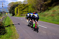 Christchurch BHS senior A u20 boys in action during the 2017 NZ Schools Road Cycling championships day one team time trials at Koputaroa Road near Levin, New Zealand on Saturday, 30 September 2017. Photo: Dave Lintott / lintottphoto.co.nz