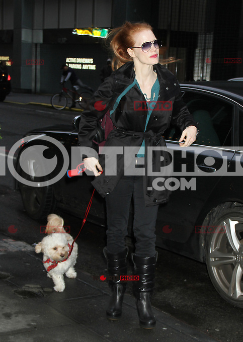 NEW YORK, NY - DECEMBER 27: Jessica Chastain arriving to the Walter Kerr Theatre in New York City for her Broadway performance in The Heiress. December 27, 2012. Credit: RW/MediaPunch Inc. /NortePhoto