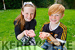 Hannah and Finn McKinsey from Caherslea, babysitting their tadpoles before they release them back in to the wilds in Tonevane.