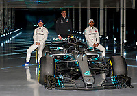 Valtteri Bottas of Mercedes-AMG Petronas Motorsport, Toto Wolff (Team Principal & CEO) of Mercedes-AMG Petronas Motorsport and Lewis Hamilton of Mercedes-AMG Petronas Motorsport during the Mercedes-AMG F1 W09 EQ Power+ 2018 F1 Car Launch at Silverstone, England on 22 February 2018. Photo by Vince  Mignott.
