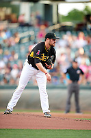 Salt Lake Bees starting pitcher Alex Blackford (11) looks to his catcher for the sign during the Pacific Coast League game against the Reno Aces in Pacific Coast League action at Smith's Ballpark on June 15, 2017 in Salt Lake City, Utah. The Aces defeated the Bees 13-5. (Stephen Smith/Four Seam Images)