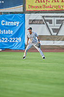 Bladimir Restituyo (7) center fielder of the Grand Junction Rockies on defense against the Ogden Raptors at Lindquist Field on August 28, 2019 in Ogden, Utah. The Rockies defeated the Raptors 8-5. (Stephen Smith/Four Seam Images)