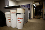 Waste baskets for classified documents on the special investigations floor of the Sacramento Police Department which was emptied due to budget cuts, and its detectives reassigned to patrol units, October 26, 2012 in Sacramento, Calif.