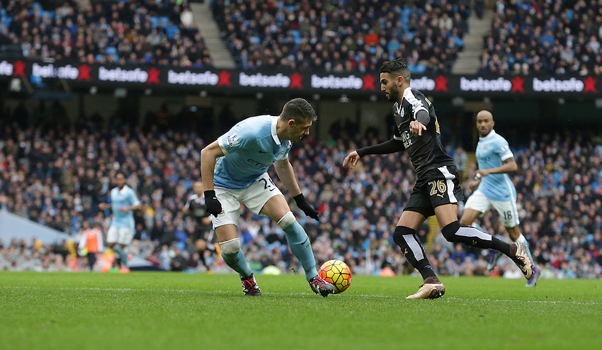 Leicester City's Riyad Mahrez turns Manchester City's Martin Demichelis before scoring his sides second goal<br /> <br /> Photographer Stephen White/CameraSport<br /> <br /> Football - Barclays Premiership - Manchester City v Leicester City - Saturday 6th February 2016 -  Etihad Stadium - Manchester<br /> <br /> &copy; CameraSport - 43 Linden Ave. Countesthorpe. Leicester. England. LE8 5PG - Tel: +44 (0) 116 277 4147 - admin@camerasport.com - www.camerasport.com