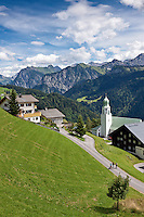 Austria, Vorarlberg, Fontanella: mountain village at Great Walser Valley | Oesterreich, Vorarlberg, Fontanella: Gebirgsdorf im Biosphaerenpark Grosses Walsertal