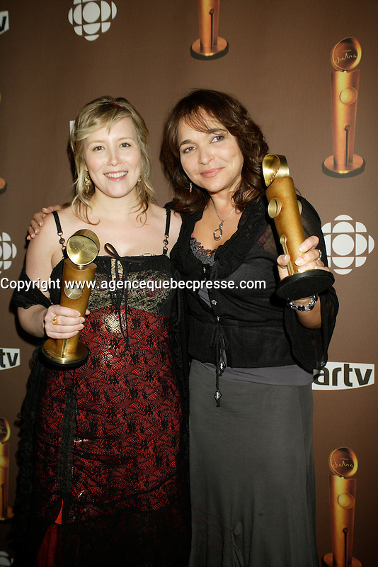 Montreal (Qc) CANADA - March 29 2009 - Jutras award (for Quebec Cinema)<br />  : Isabelle Blais, meilleure actrice (Best actress) , Lyne Charlebois, meilleure realisatrice (Best director) , Bordeline