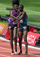 Jails Kipchoge BIRECH of Kenya congratulates winner Conseslus KIPRUTO (3000m Steeplechase) during the Sainsbury's Anniversary Games, Athletics event at the Olympic Park, London, England on 25 July 2015. Photo by Andy Rowland.