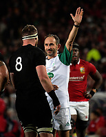 Referee Romain Poite talks to All Blacks captain Kieran Read during the 2017 DHL Lions Series rugby union 3rd test match between the NZ All Blacks and British & Irish Lions at Eden Park in Auckland, New Zealand on Saturday, 8 July 2017. Photo: Dave Lintott / lintottphoto.co.nz