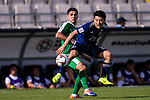 Doan Ritsu of Japan (R) battles for the ball with Amanov Arslan of Turkmenistan (L) during the AFC Asian Cup UAE 2019 Group F match between Japan (JPN) and Turkmenistan (TKM) at Al Nahyan Stadium on 09 January 2019 in Abu Dhabi, United Arab Emirates. Photo by Marcio Rodrigo Machado / Power Sport Images