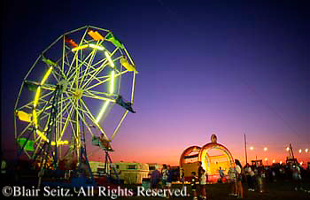 Lebanon County Fair, Midway Farris Wheel, Dusk. Sunset and Night Lights