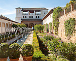 Patio de la Acequia, Court of the water Channel, Generalife palace gardens, Alhambra, Granada, Spain