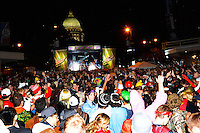 The Madison State Capitol is seen over the Mountain Dew / Capitol Stage as the Halloween crowd cheers music act, Timeflies, at Freakfest 2015 on State Street in Madison, Wisconsin