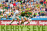 James O'Donoghue, Kerry in action against Ollie Lyons, Kildare in the All Ireland Quarter Final at Croke Park on Sunday.