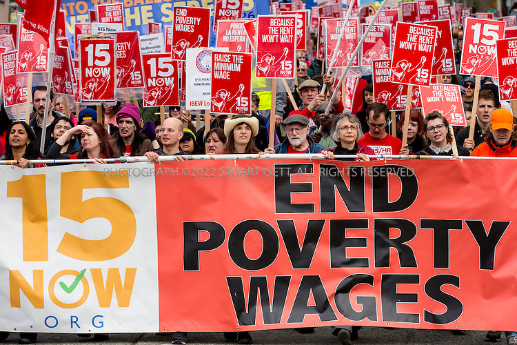 3/16/2014&mdash;Seattle, WA, USA<br /> <br /> A Seattle group started to push for a raise in the minimum wage called &ldquo;$15 Now!&rdquo; held a march  to raise to demand the city council the minimum wage to $15 per hour. Several hundred people marched from Judkins Park in the city&rsquo;s Central District  to Seattle Central Community College on Capitol Hill where a rally was held. Social city council member Kshama Sawant spoke at the rally.<br /> <br /> <br /> <br /> Photograph by Stuart Isett<br /> &copy;2014 Stuart Isett. All rights reserved.