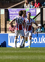 Billy Waters of Cheltenham Town celebrates his goal during the Sky Bet League 2 match between Wycombe Wanderers and Cheltenham Town at Adams Park, High Wycombe, England on the 8th April 2017. Photo by Liam McAvoy.
