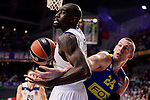 Real Madrid's Othello Hunter and Maccabi Fox's Colton Iverson during Turkish Airlines Euroleague match between Real Madrid and Maccabi at Wizink Center in Madrid, Spain. January 13, 2017. (ALTERPHOTOS/BorjaB.Hojas)