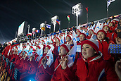 9th February 2018, Pyeongchang, South Korea; 2018 Winter Olympic Games; PyeongChang Olympic Stadium; North Korean ladies wearing similar clothes waving the unification flag symbolising unity between North and South Korea in support before the Opening Ceremony