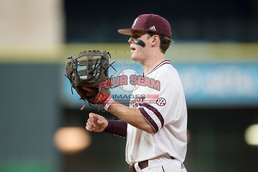 Mississippi State Bulldogs first baseman Mississippi State Bulldogs on defense against the Houston Cougars in game six of the 2018 Shriners Hospitals for Children College Classic at Minute Maid Park on March 3, 2018 in Houston, Texas. The Bulldogs defeated the Cougars 3-2 in 12 innings. (Brian Westerholt/Four Seam Images)