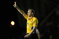 Referee Wayne Barnes during the Premiership Rugby Round 2 match between Harlequins and Saracens at The Twickenham Stoop on Friday 12th September 2014 (Photo by Rob Munro)