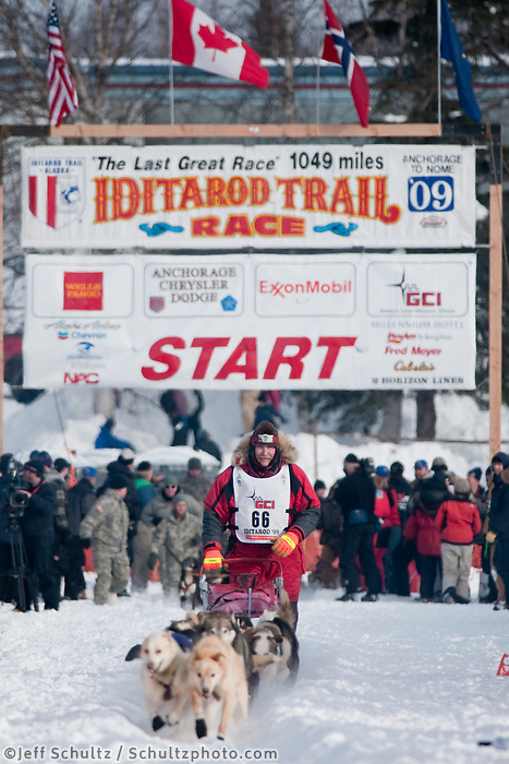 Musher # 66 David Sawatzky at the Restart of the 2009 Iditarod in Willow Alaska