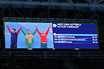 General view, <br /> AUGUST 12, 2016 - Swimming : <br /> Men's 100m Butterfly Medal Ceremony <br /> at Olympic Aquatics Stadium <br /> during the Rio 2016 Olympic Games in Rio de Janeiro, Brazil. <br /> (Photo by Yohei Osada/AFLO SPORT)
