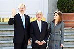 King Felipe VI of Spain and Queen Letizia of Spain receive the President of the Republic of Portugal, Mr. Marcelo Rebelo de Sousa (c) during his official visit to Spain. April 16 ,2018. (ALTERPHOTOS/Acero)