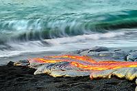 Glow from large lava flow behind photographer, Moonlit night lava flow, TEB, Thanksgiving Eve Breakout flow, Waikupanaha lava ocean entry, Kilauea volcano, East of Hawaii Volcanoes National Park, Big Island, Hawaii, USA