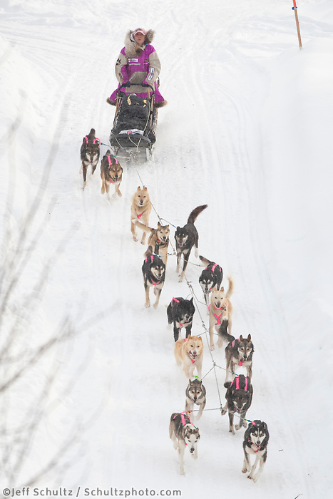 Dee Dee Jonrowe on the trail shortly after leaving the Takotna checkpoint on Thursday just after noon    Iditarod 2009
