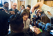 United States Senator Susan Collins (Republican of Maine) meets reporters as she leaves the US Senate Chamber after delivering a speech in support of the candidacy of Judge Brett Kavanaugh to be Associate Justice of the US Supreme Court in the US Capitol in Washington, DC on Friday, October 5, 2018. <br /> Credit: Ron Sachs / CNP<br /> (RESTRICTION: NO New York or New Jersey Newspapers or newspapers within a 75 mile radius of New York City)