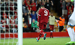Roberto Firmino of Liverpool celebrates during the Champions League playoff round at the Anfield Stadium, Liverpool. Picture date 23rd August 2017. Picture credit should read: Lynne Cameron/Sportimage