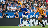 Ayoze Pérez of Leicester City moves from Leander Dendoncker of Wolves during the Premier League match between Leicester City and Wolverhampton Wanderers at the King Power Stadium, Leicester, England on 10 August 2019. Photo by Andy Rowland.
