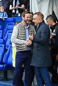 1st October 2017, Hillsborough, Sheffield, England; EFL Championship football, Sheffield Wednesday versus Leeds United; Carlos Carvalhal Manager of Sheffield Wednesday  and Thomas Christiansen manager of Leeds United FC  shake hands before kick off