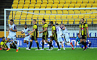 Glory's Diego Castro scores the equaliser during the A-League football match between Wellington Phoenix and Perth Glory at Westpac Stadium in Wellington, New Zealand on Saturday, 2 December 2018. Photo: Dave Lintott / lintottphoto.co.nz