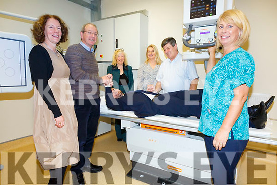 Minister Brendan Griffin gets a full check up at the reopening of the upgraded digital X-ray unit at St Annes Hospital in Cahersiveen on Monday, pictured here l-r; Teresa O'Donovan(Head of Primary Care Kerry & Cork), Dr Brian Donovan(Cahersiveen), Susanne O'Sullivan((Primary Care Development Officer), Annamarie O'Flaherty(Radiography Services Manager), Dr Attila Adamik(Waterville) & Elizabeth Kennelly(Radiographer).