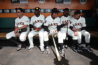SAN FRANCISCO - JUNE 11:  San Francisco Giants Legends J.T. Snow, Shawon Dunston, Will Clark, Mike Felder, and Jim Davenport talk in the dugout on San Francisco Giants Legends day before an MLB baseball game between the Cincinnati Reds and the San Francisco Giants on Satuday, June 11, 2011 at AT&T Park in San Francisco, California. Photo by Brad Mangin