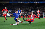 Antoine Griezmann of Atletico Madrid takes a shot on goal past Cesar Azpilicueta of Chelsea during the Champions League Group C match at the Stamford Bridge, London. Picture date: December 5th 2017. Picture credit should read: David Klein/Sportimage