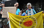 Lisa Edstrom, and Nancy Smith of Hudson Friends Meeting, seen attending the Peoples Climate March in Borough of Manhattan, in New York City, on Sunday, September 21 , 2014. Photo by Jim Peppler. Copyright Jim Peppler 2014 all rights reserved.