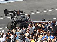 Nov 10, 2018; Pomona, CA, USA; NHRA top fuel driver Mike Salinas during the Auto Club Finals at Auto Club Raceway. Mandatory Credit: Mark J. Rebilas-USA TODAY Sports